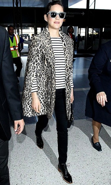 Marion Cotillard rocking the leopard print 'n' stripes. Getty Images
